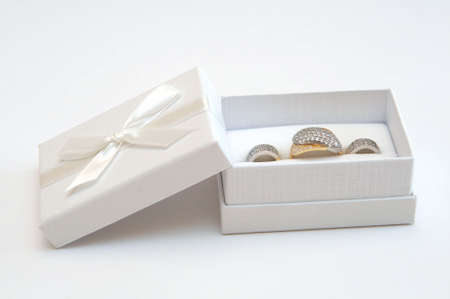 golden  gleam: Golden ring and earrings in a white gift box