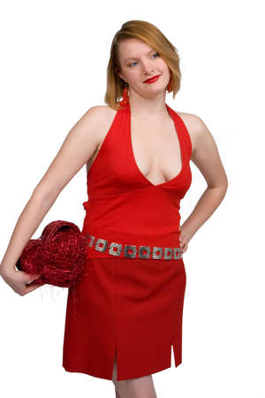 Woman in red holding a heart (Valentine's day) Stock Photo - 2365377