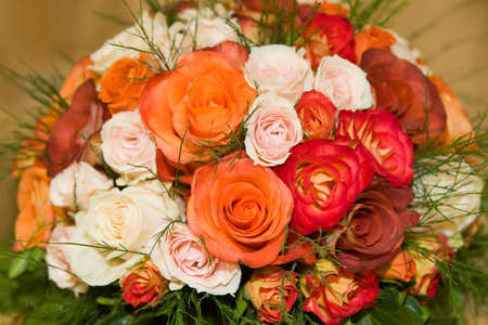 Wedding bouquet made of colorful roses