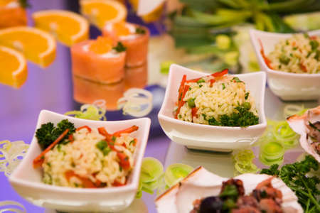 Chinese cuisine with rice and seafood photo