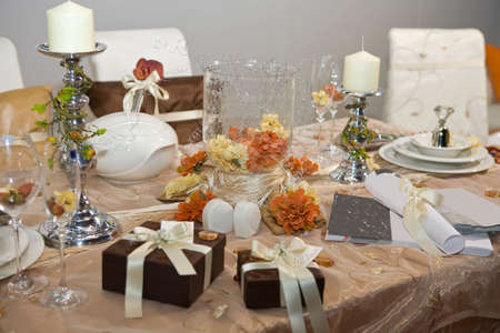 wedding table setting: Luxurious wedding dinner