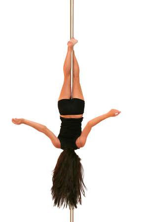 fitness danse: Jeune femme exer�ant p�le danse fitness