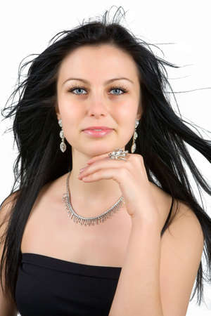 Diamonds are forever (girl with diamond earrings, ring and necklace) photo