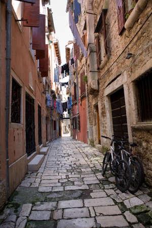 Narrow street of Rovinj, Croatia photo