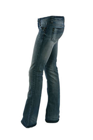 Blue jeans trousers on a mannequin isolated on white photo