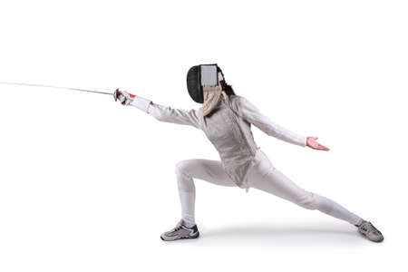 foil: Female fencer isolated on white Stock Photo