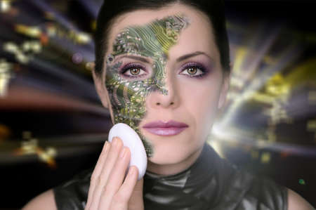 removing: Bionic woman removing makeup from her face