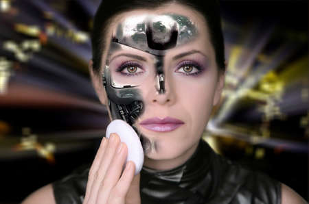 Bionic woman removing makeup from her face photo