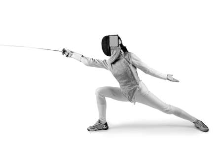 Female fencer isolated on white photo