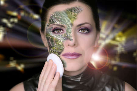 cyber woman: Cyber woman removing makeup from her face