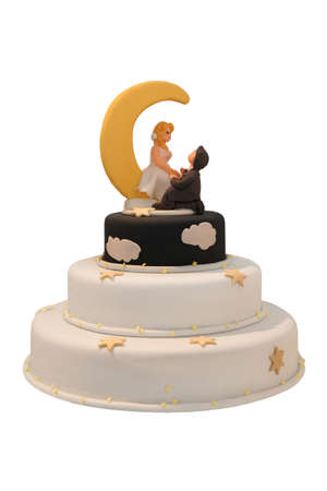 Night and day wedding cake with moon and the stars photo