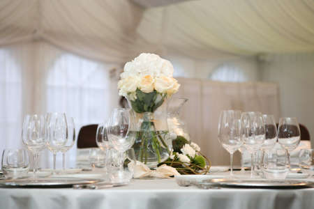 a marriage meeting: Table set for an event party or wedding reception
