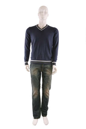 Male mannequin dressed in sweater and jeans and isolated on white Stock Photo - 8493176