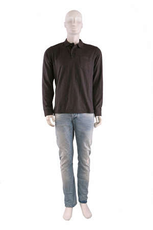 Male mannequin dressed in sweater and jeans and isolated on white Stock Photo - 8493174