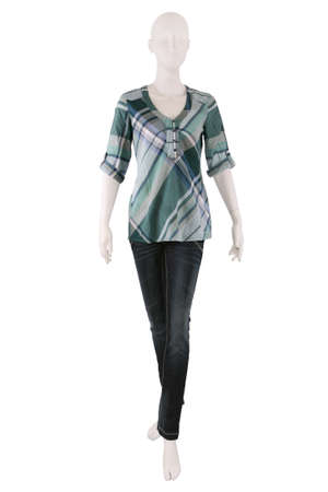 Mannequin dressed in shirt and jeans and isolated on white