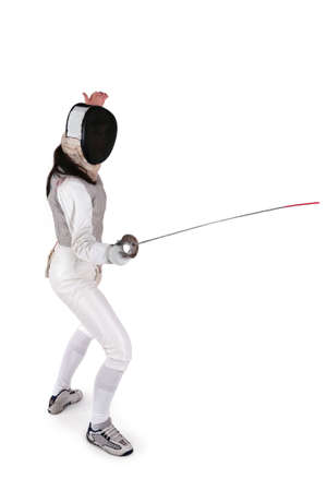 Female fencer isolated on white Stock Photo - 8176754