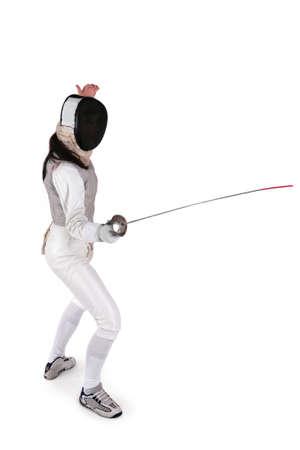 mosquetero: Mujer esgrimista aislado en blanco