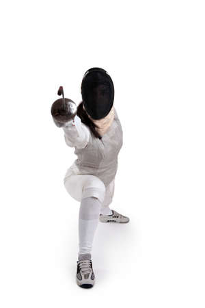 Female fencer isolated on white Stock Photo - 8176755