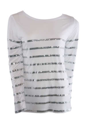 White female shirt with tinsel stripes isolated on white photo