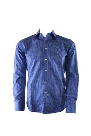 in shirt: Camiseta azul de hombre aislado en blanco Foto de archivo