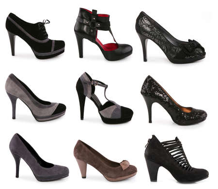 Collection of various types of shoes on white background photo