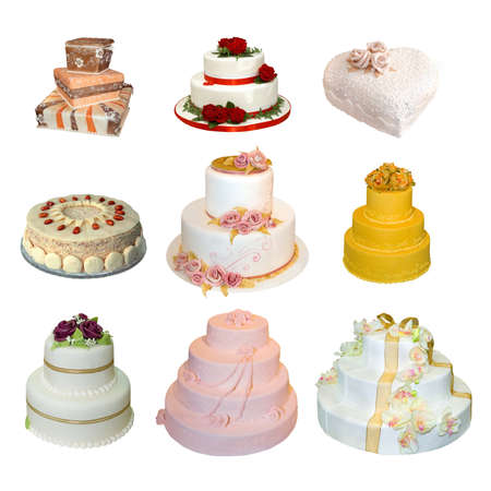 Collection of various types of wedding cakes isolated on white photo