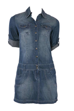 Jeans female dress isolated on white photo