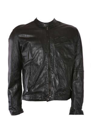 Male leather jacket isolated on white photo