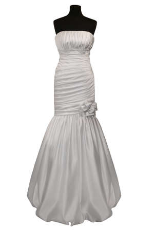 strapless dress: Wedding dress on mannequin isolated on white