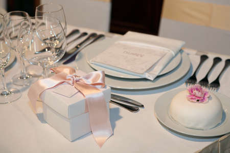 Elegant table setting for a wedding or dinner event