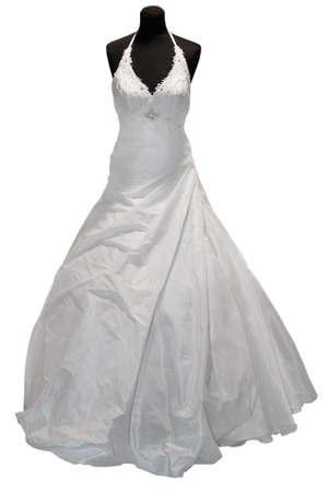 bridal dress: Abito da sposa su manichino isolata on white