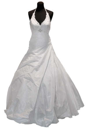 bridal veil: Wedding dress on mannequin isolated on white