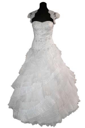 Hochzeitskleid auf Schaufensterpuppe, isoliert auf weiss Standard-Bild - 8865991