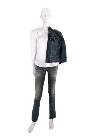 Female clothing on a mannequin isolated on white photo