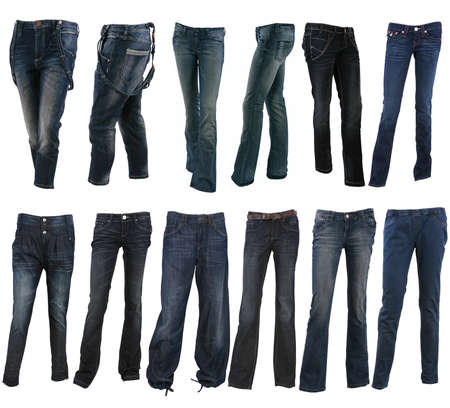 Collection of various types of blue jeans trousers isolated on white photo