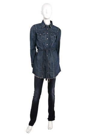skiny: Mannequin dressed in jeans shirt and trousers, isolated on white Stock Photo