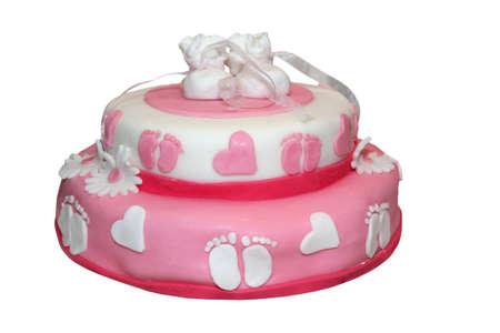 Pink baby cake isolated on white photo