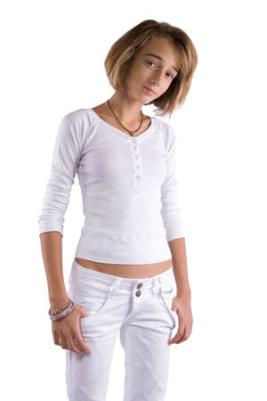 short cut: Teenage girl in white clothes