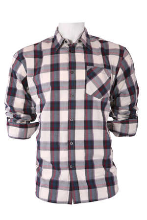 checkered polo shirt: Male checkered shirt on a mannequin, isolated on white