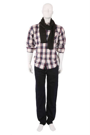 checkered polo shirt: Male mannequin dressed in fashionable clothes, isolated on white Stock Photo