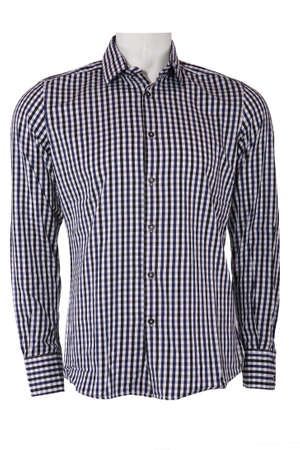 Male checkered shirt on a mannequin, isolated on white photo