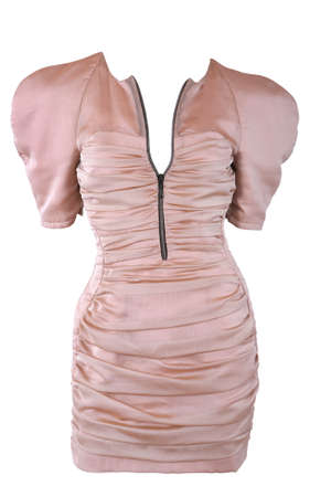 Pink female dress isolated on white photo