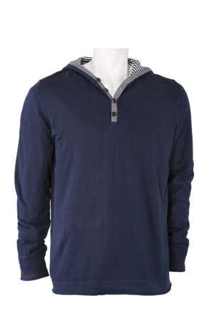 Blue male sweatshirt isolated on white photo