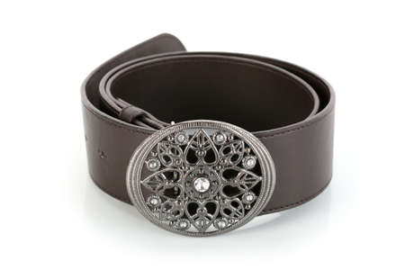 waistband: Female belt with flower shaped buckle, isolated on white