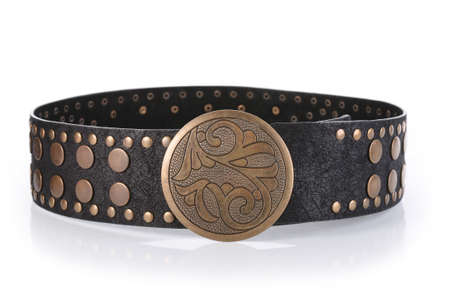 buckle: Female belt with flower shaped buckle, isolated on white