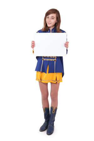 Teen majorette holding blank white paper, isolated on white photo