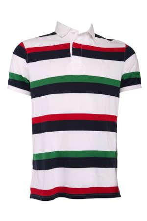Bunt gestreift männlich Polo-Shirt, isoliert auf weiss Standard-Bild - 9630600