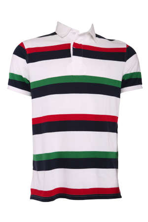 polo t shirt: Colorful striped male polo shirt, isolated on white