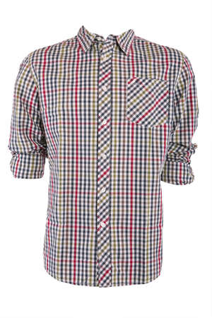 checkered polo shirt: Male checkered shirt, isolated on white Stock Photo