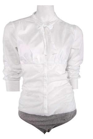 White female shirt on mannequin, isolated on white photo